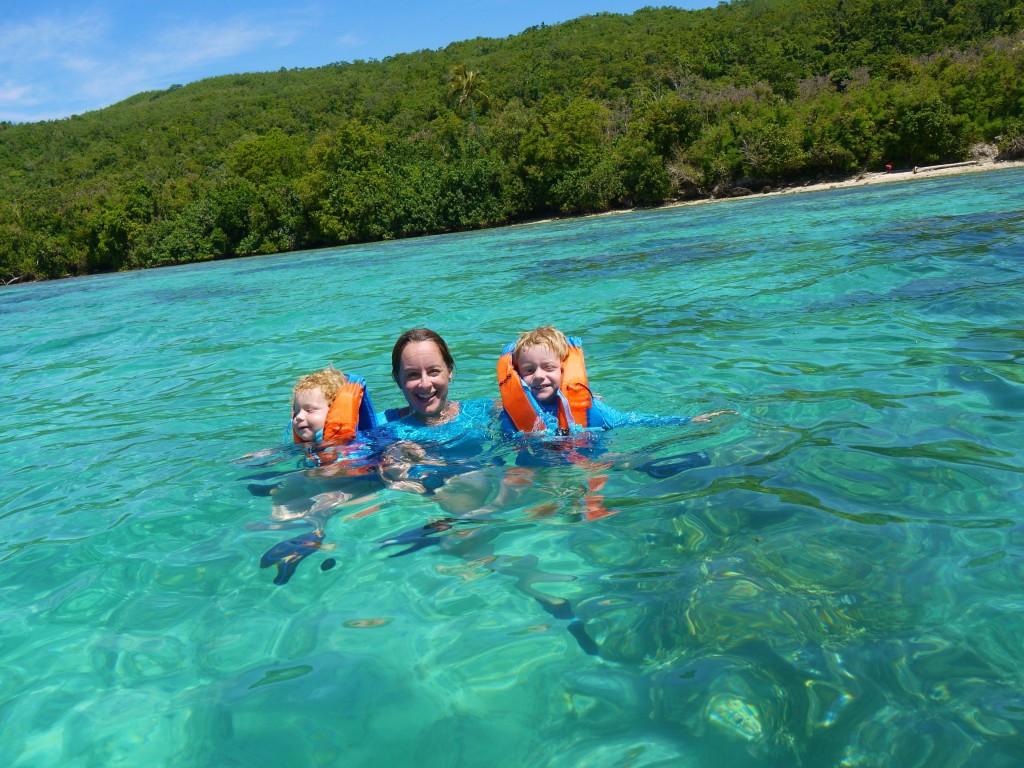Lisa and boys swimming Lelapa