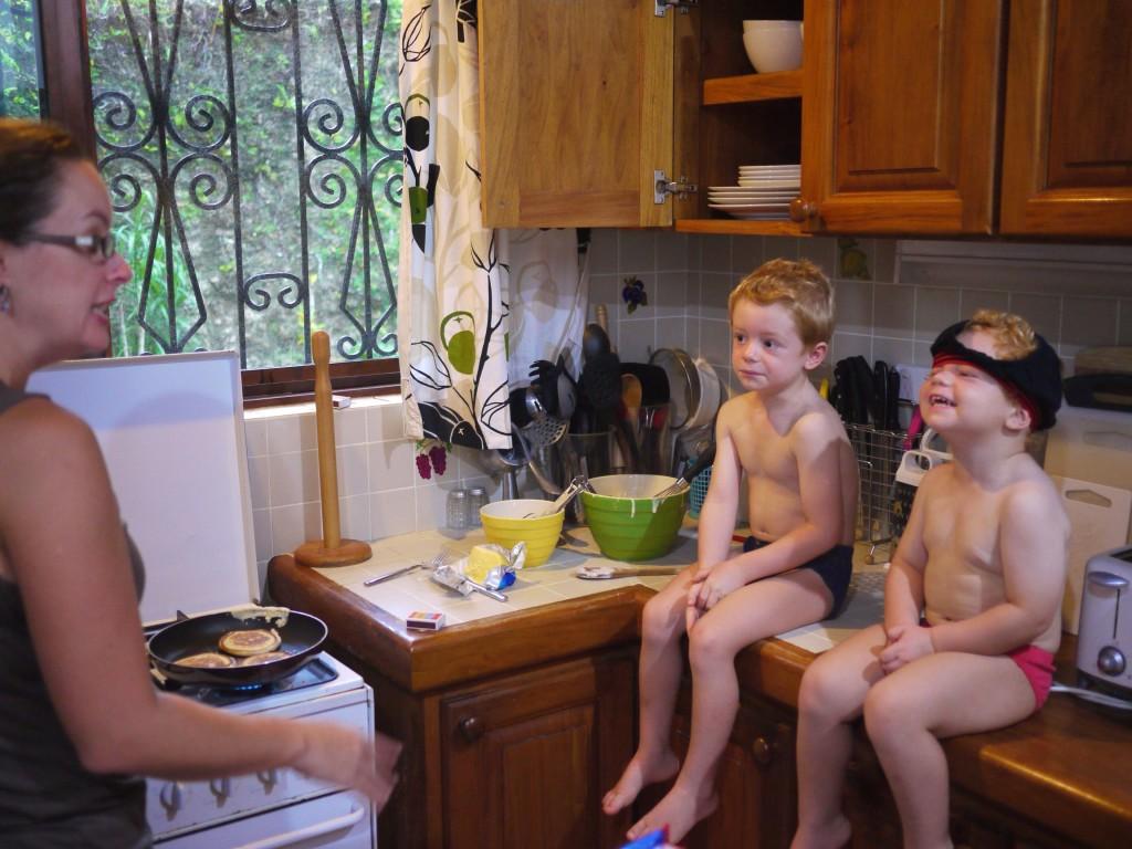 Lisa cooking pancakes boys